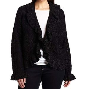 Anne Klein wool blend ruffle hem sweater cardigan